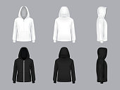 Vector realistic white and black hoodie models