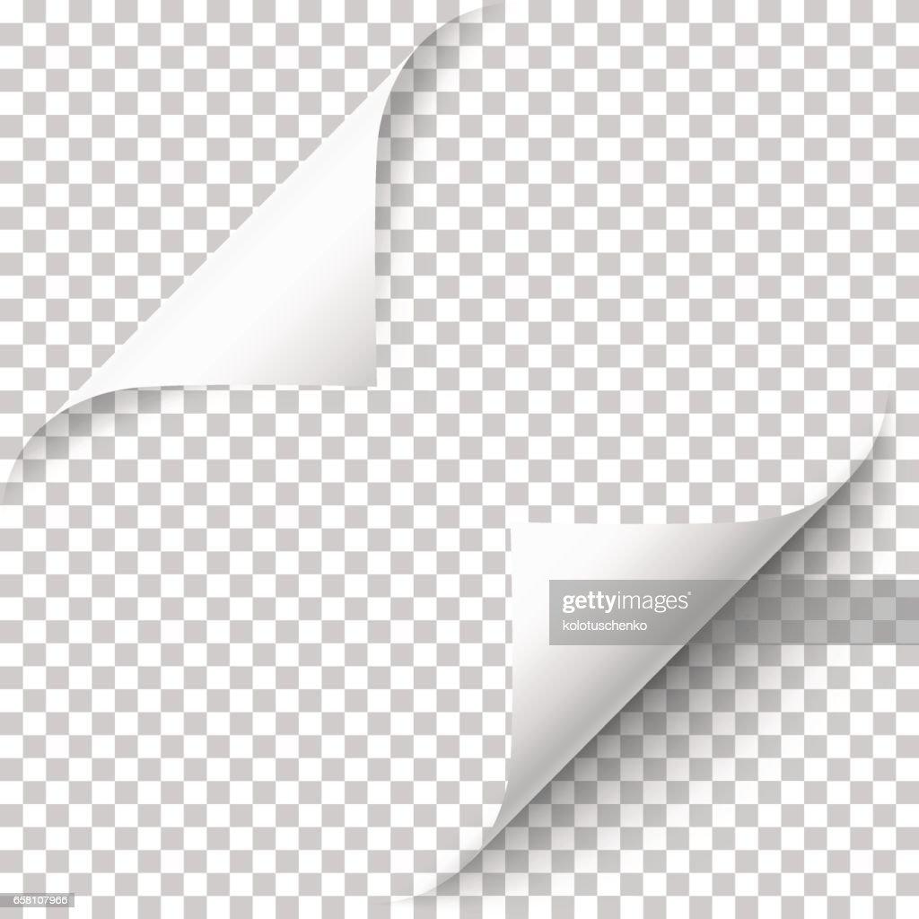 Vector realistic white paper corners