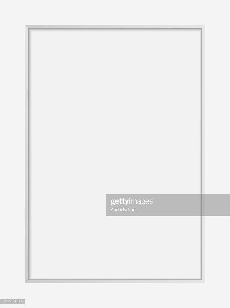 Vector realistic white photo frame  mock up. 3d vertical empty wall picture frame or passepartout mockup illustration for your design. Poster template for your photo or diploma