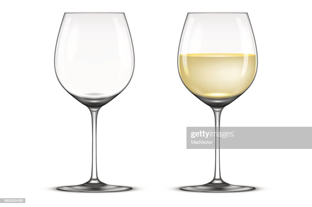 Vector realistic wineglass icon set - empty and with white wine, isolated on white background. Design template in EPS10