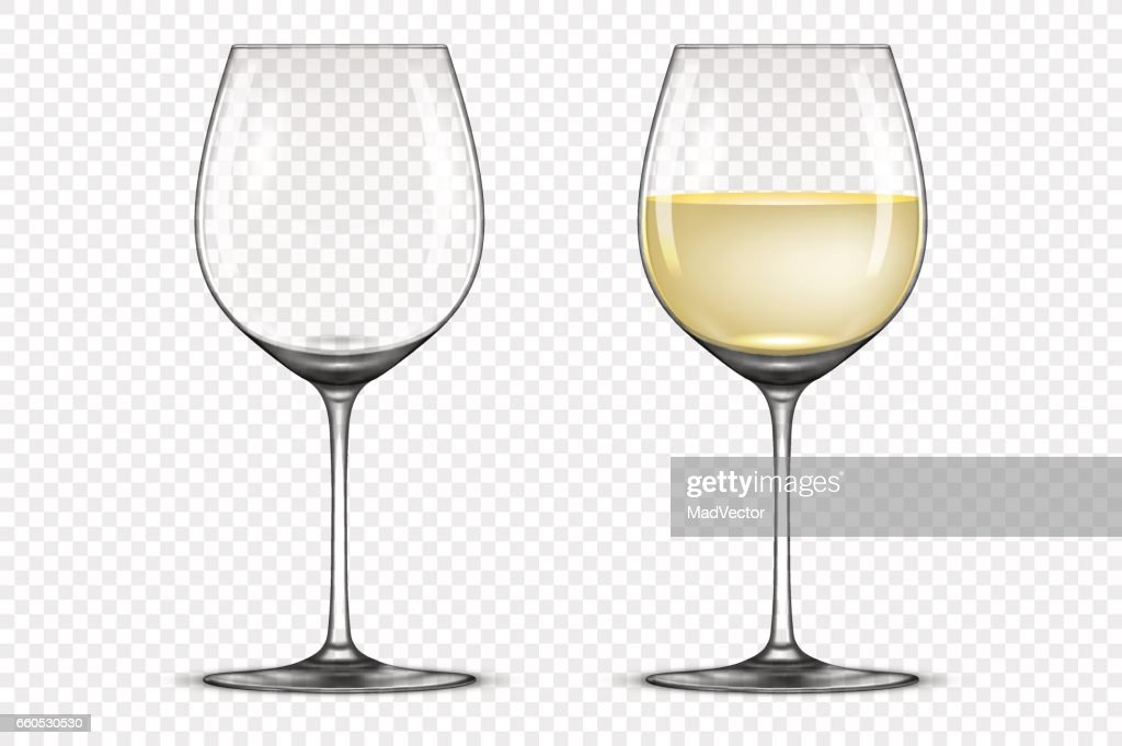 Vector realistic wineglass icon set - empty and with white wine, isolated on transparent background. Design template in EPS10