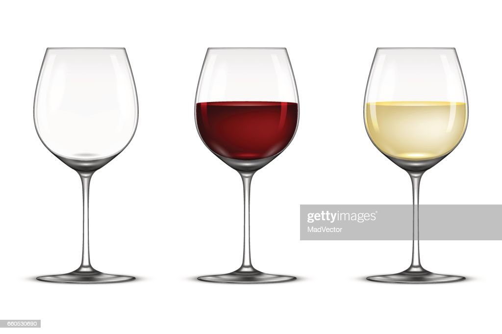 Vector realistic wineglass icon set - empty, with white and red wine, isolated on white background. Design template in EPS10