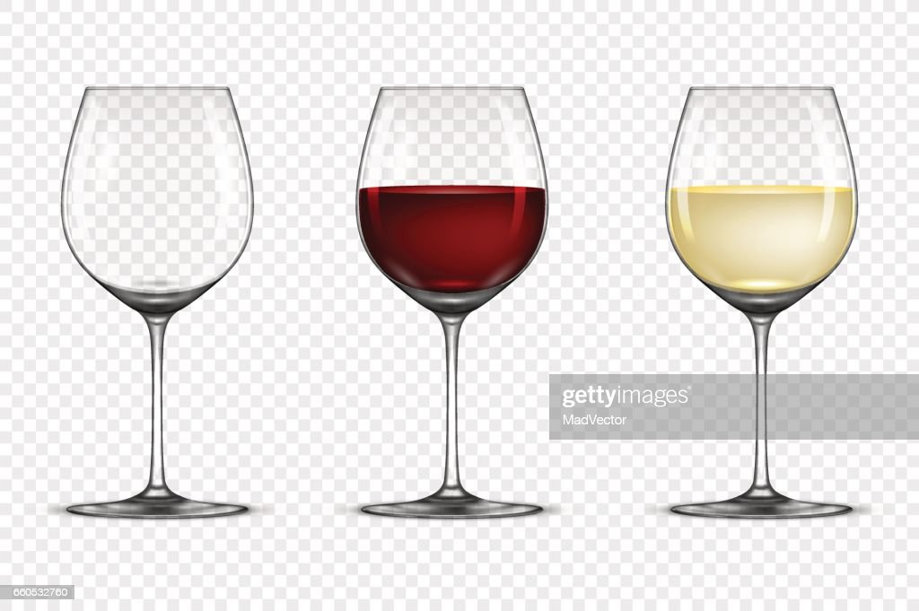 Vector realistic wineglass icon set - empty, with white and red wine, isolated on transparent background. Design template in EPS10