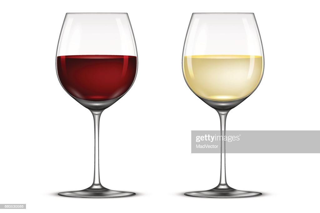 Vector realistic wineglass icon set - with white and red wine, isolated on white background. Design template in EPS10