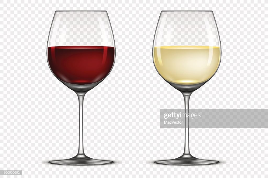 Vector realistic wineglass icon set - with white and red wine, isolated on transparent background. Design template in EPS10