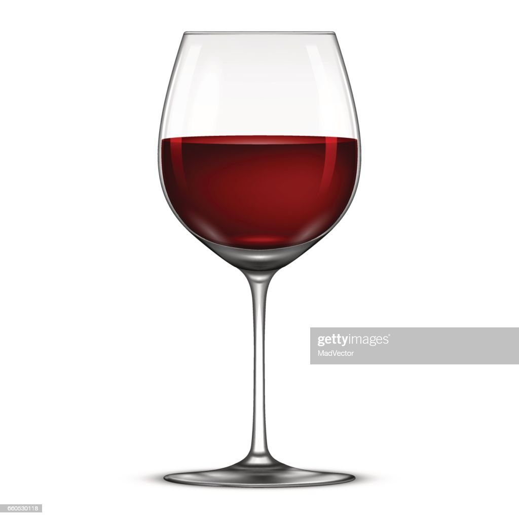 Vector realistic wineglass with red wine icon isolated on white background. Design template in EPS10