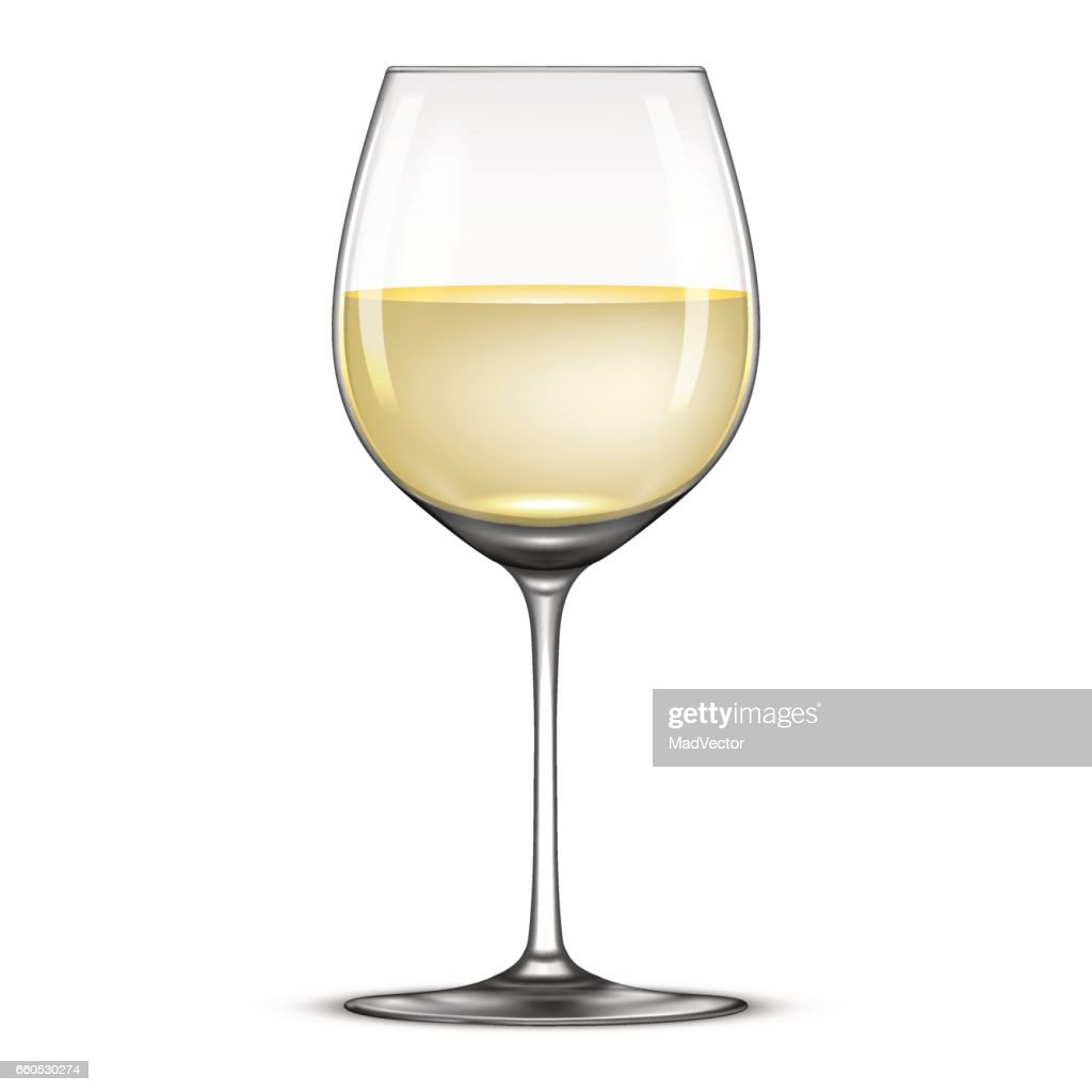 Vector realistic wineglass with white wine icon isolated on white background. Design template in EPS10