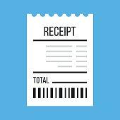 Vector receipt icon. Flat design vector illustration