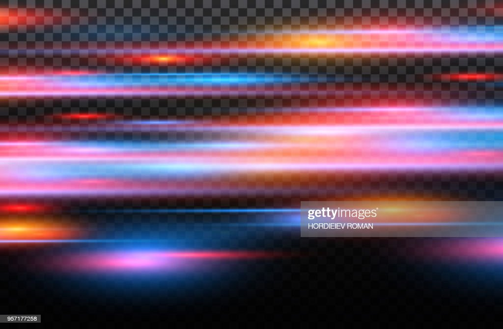 Vector red and blue special effect. Luminous stripes on a transparent background. Beautiful glow glow and spark.particle motion effect