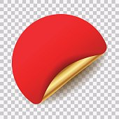 Vector red and golden culed round blank sticker for your text isolated on transparent background