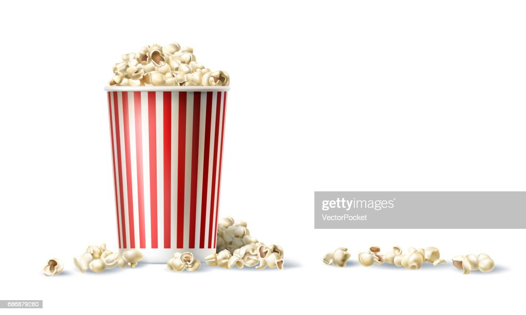 Vector red and white cardboard bucket with popcorn in realistic style