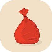 Vector Red Bin Bag Icon.