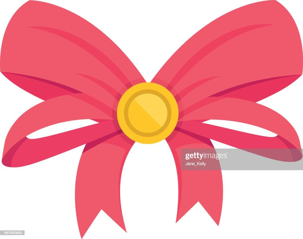 Vector red bow. Gift bow and ribbons. Vector illustration