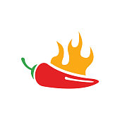Vector red chilli pepper icon and yellow fire