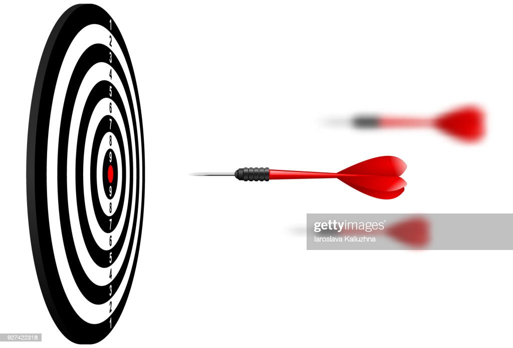 Vector red dart arrows flying to target dartboard. Metaphor to target success, winner concept. Isolated on white background