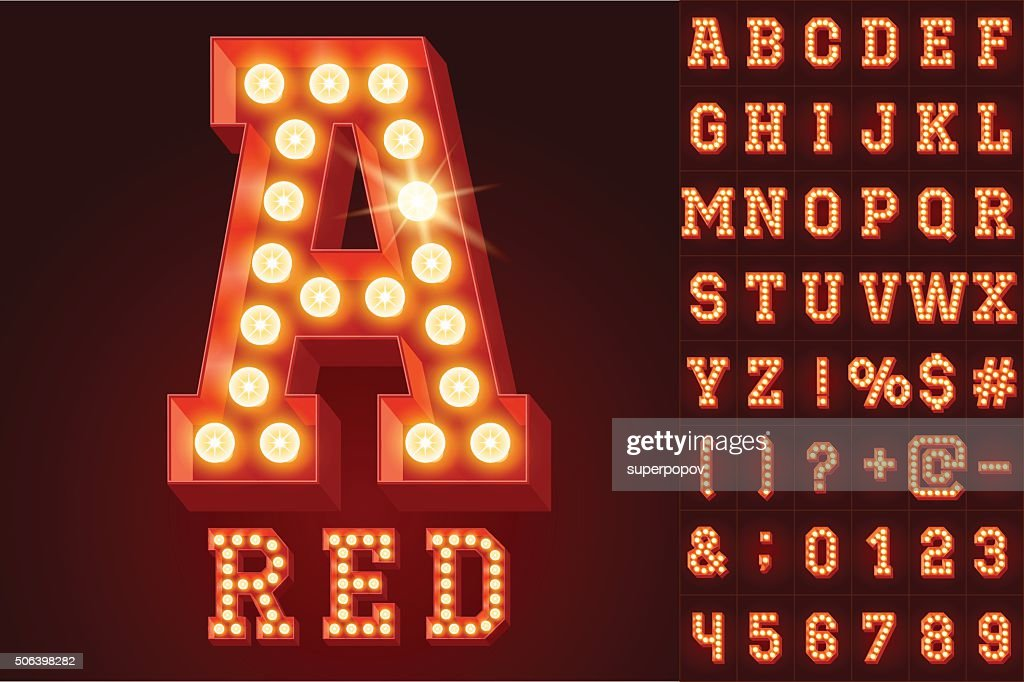 Vector red electric light up lamp alphabet in hard font