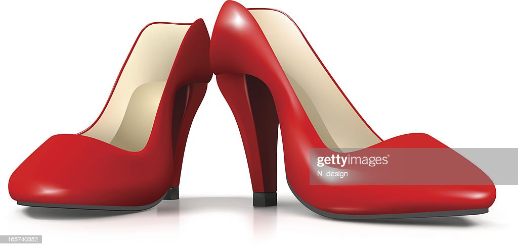 Vector Red Female Shoes : stock illustration