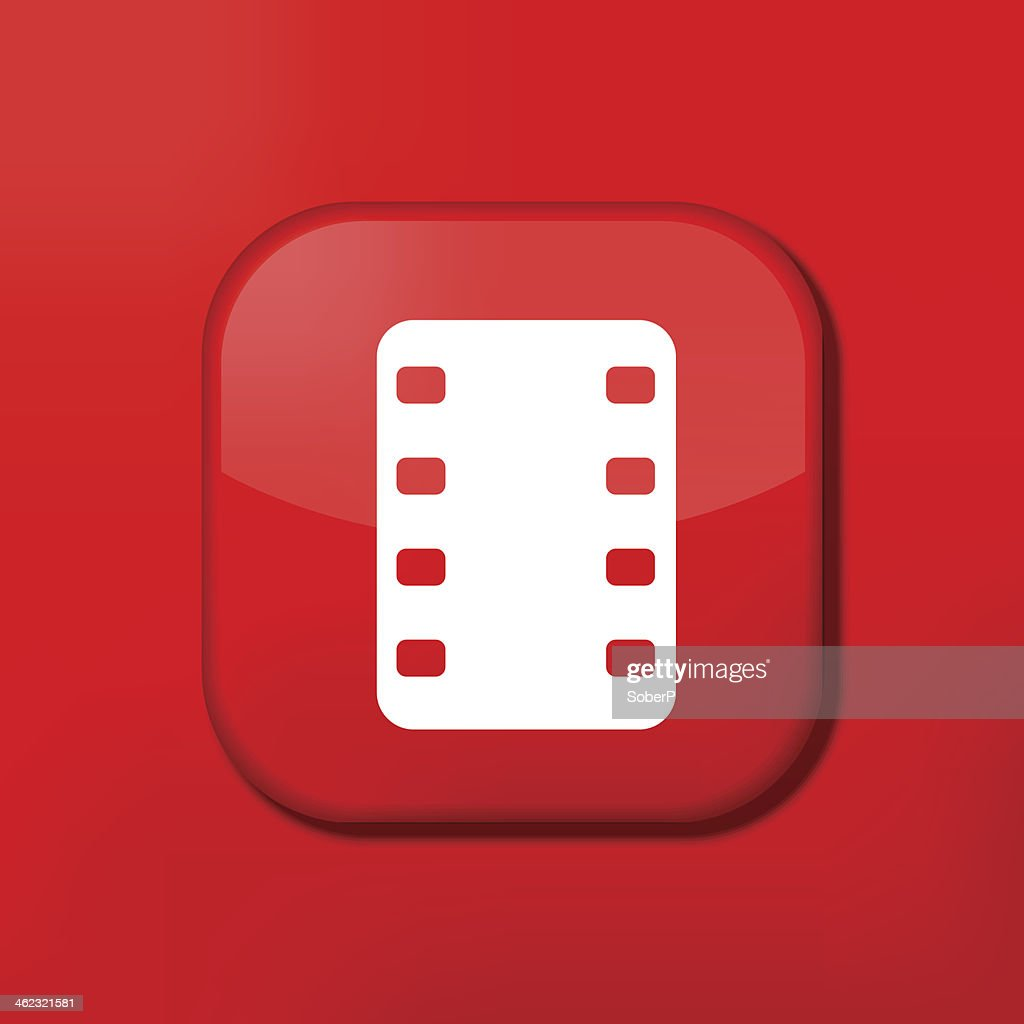 Vector red film icon. Eps10. Easy to edit