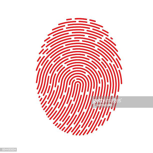 vector red fingerprint - verification stock illustrations, clip art, cartoons, & icons