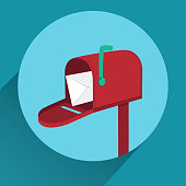 Vector red flat mailbox with long shadow