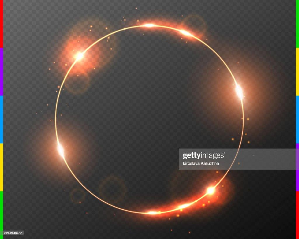 Vektor Rot Goldrahmen Mit Lichteffekt Streulicht Und Funken ...