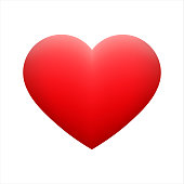 Vector red heart shape emoticon on background.