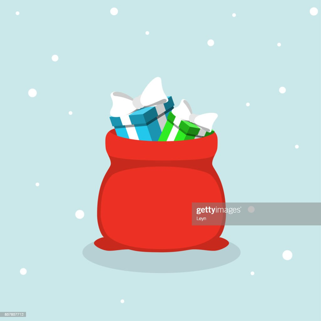 Vector red Santa Claus bag with gifts