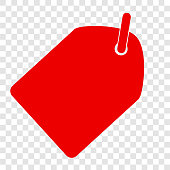 Vector Red Shining rectangle Blank Tag with soft shadow at transparent effect background
