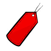 Vector Red Sketchy Blank Tag, isolated on white