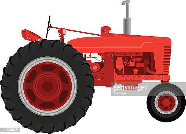 vector red tractor - tractor stock illustrations