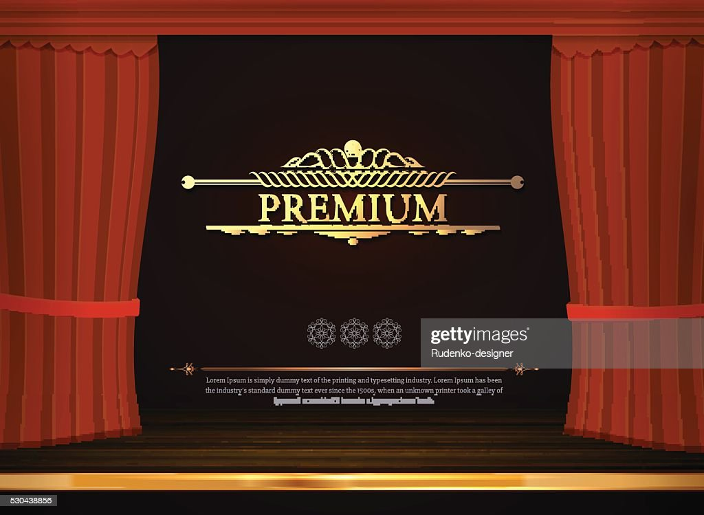 Vector red сurtains in theater or opera. Red curtain scene