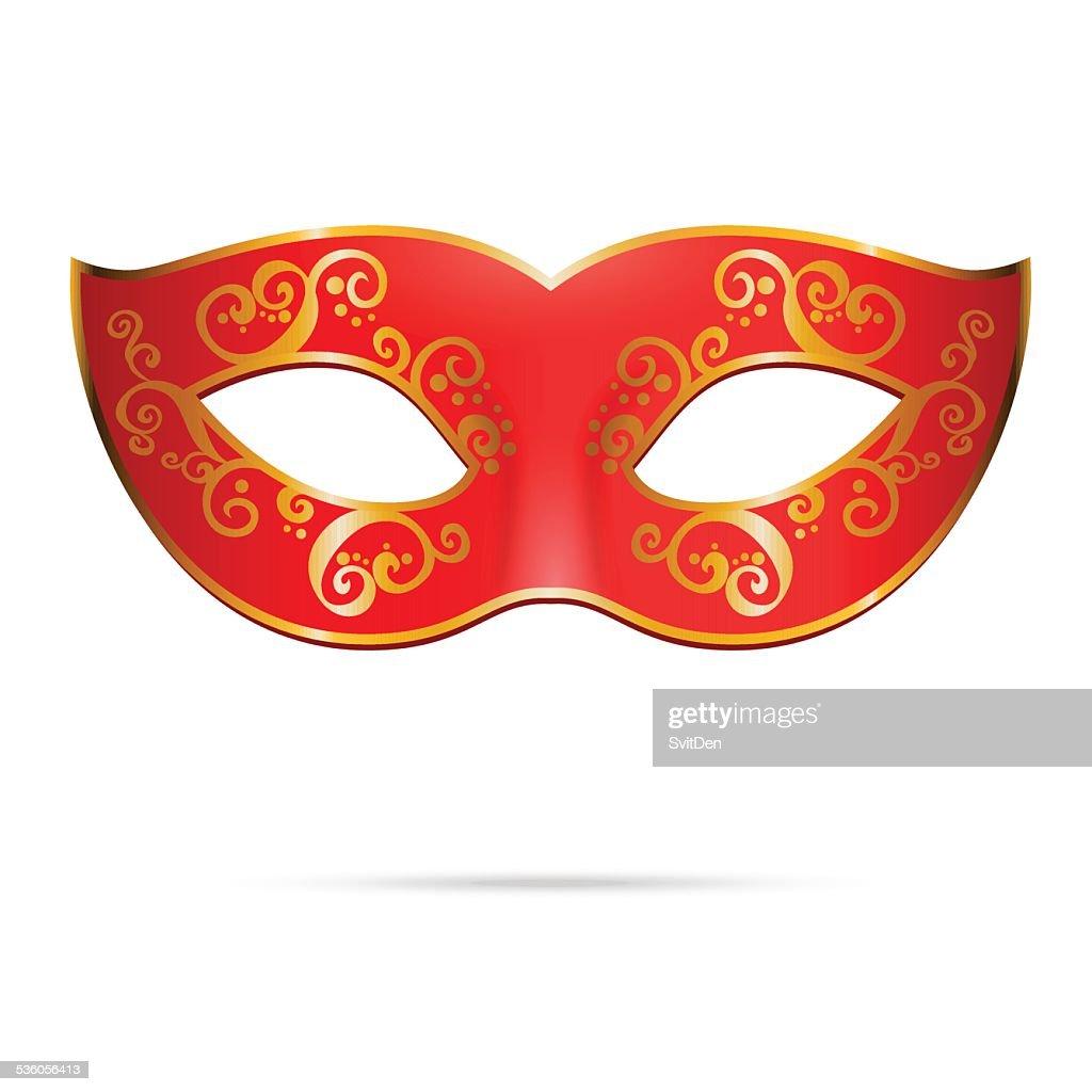 Vector red venetian carnival mardi gras party mask