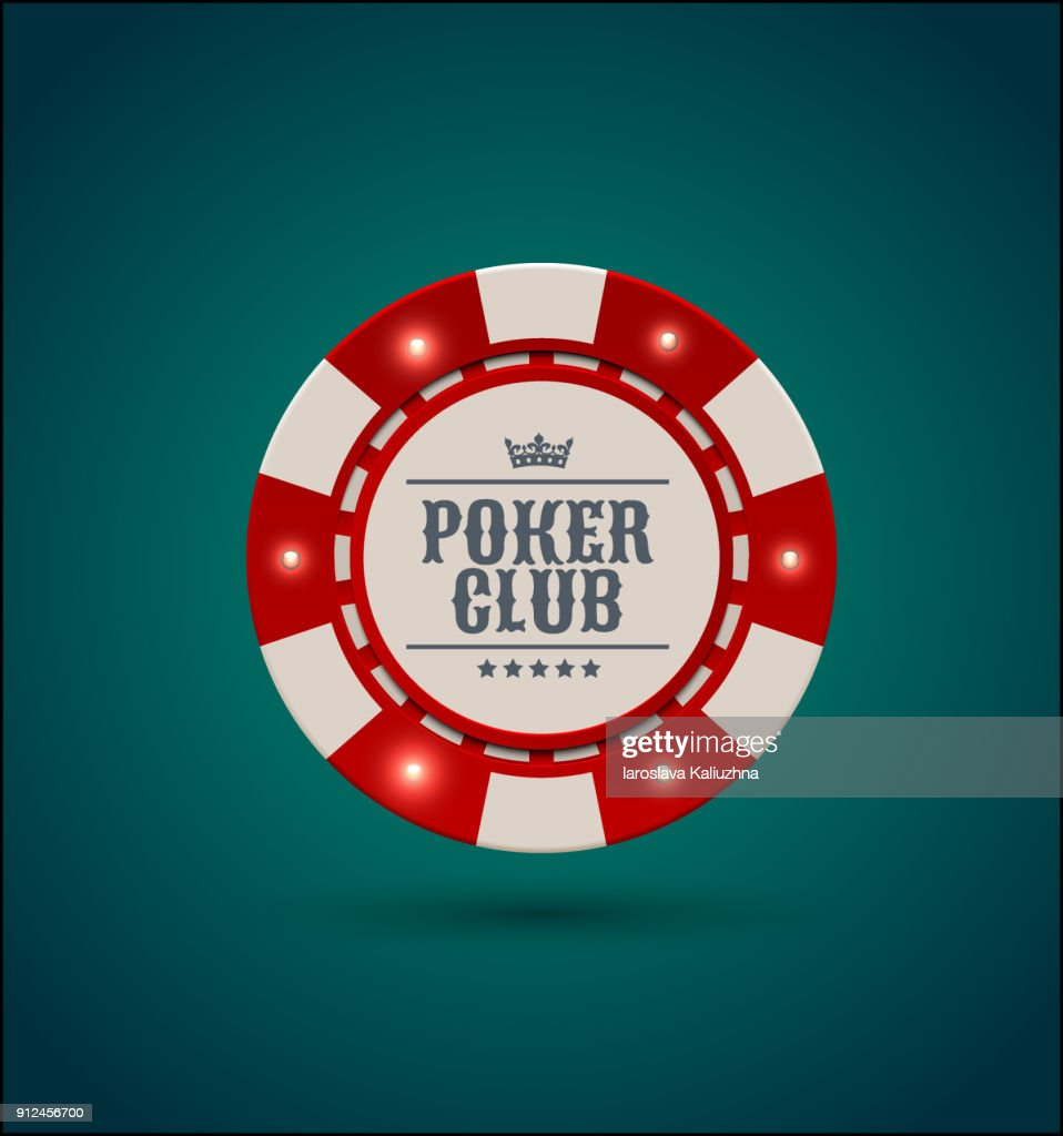 Vector red white casino poker chip with luminous light elements. Blue green background. Poker club text, blackjack or online casino banner, eps 10
