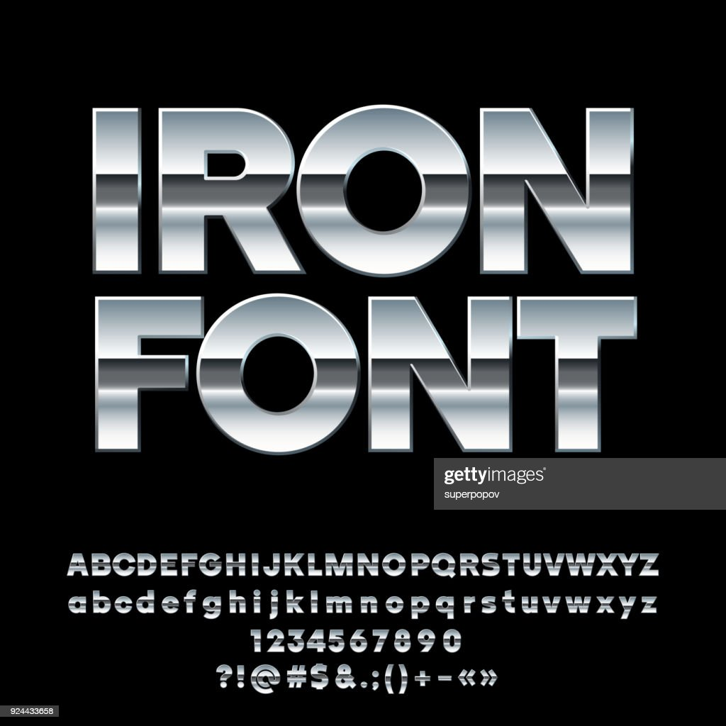 Vector reflective Iron Alphabet Font