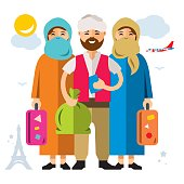 Vector Refugee migrants family. Illegal migration. Flat style colorful Cartoon