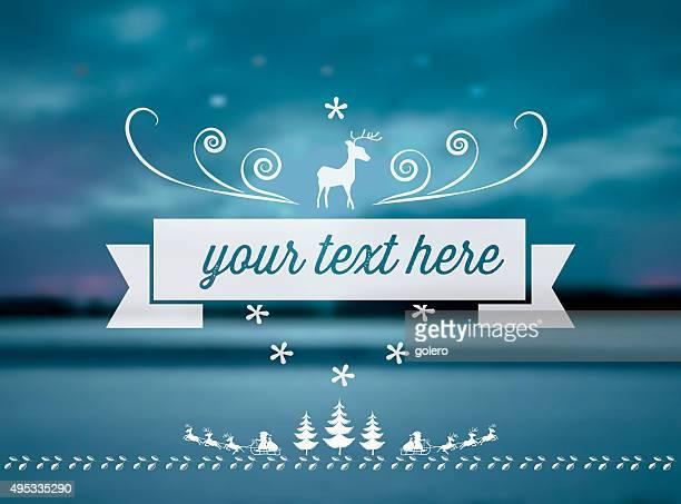 vector reindeer line symbol on blue blurred winter background