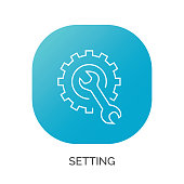Vector repair icon. Blue wrench, black gear. icon vector illustration