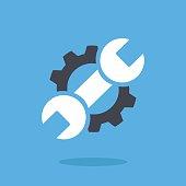 Vector repair icon. Blue wrench, black gear. Logo vector illustration