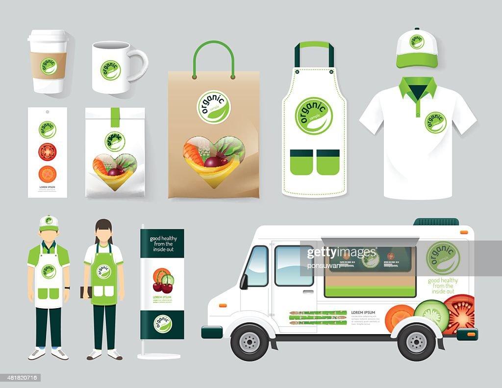 Vector restaurant cafe design set street food truck shop, flyer
