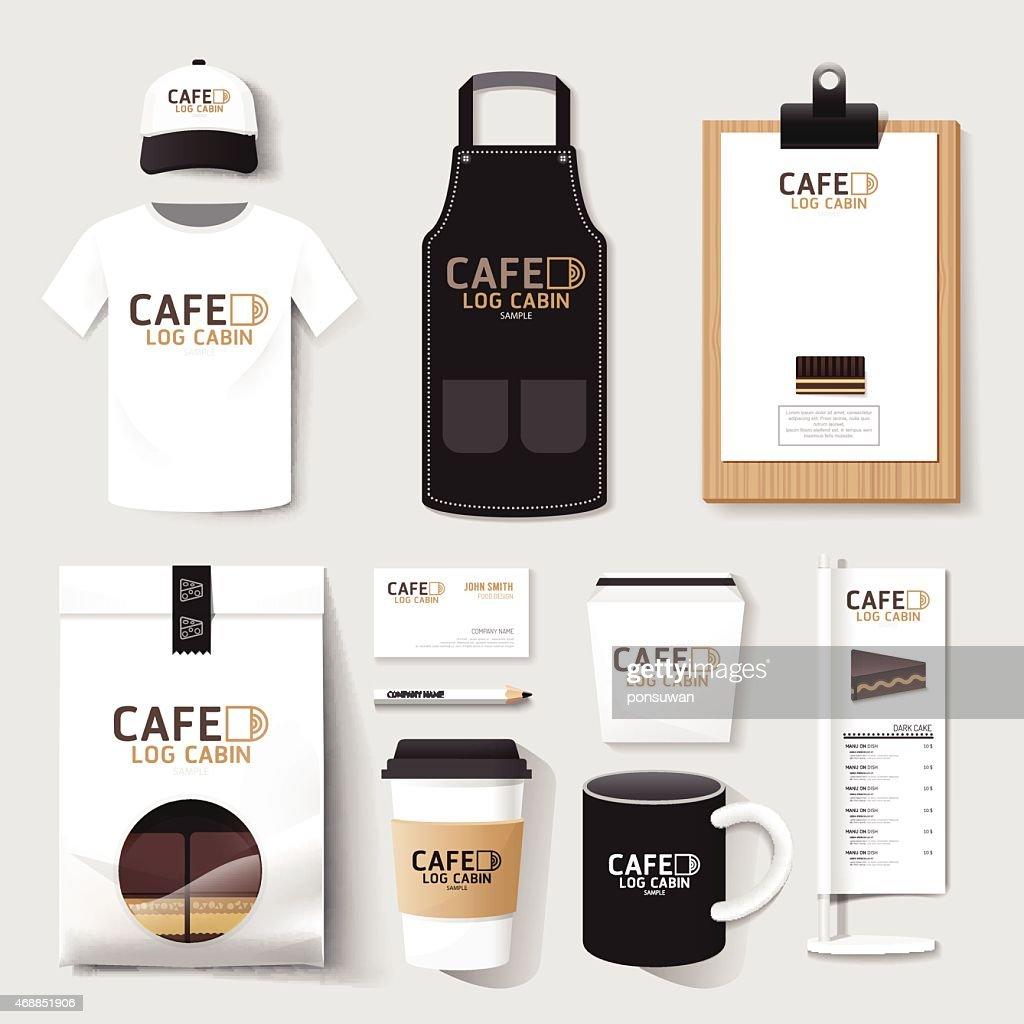 Vector restaurant cafe set flyermenu package t-shirt cap uniform design