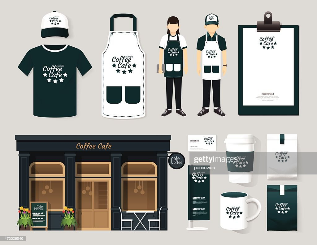 Vector restaurant cafe set shop front design, mock up template.