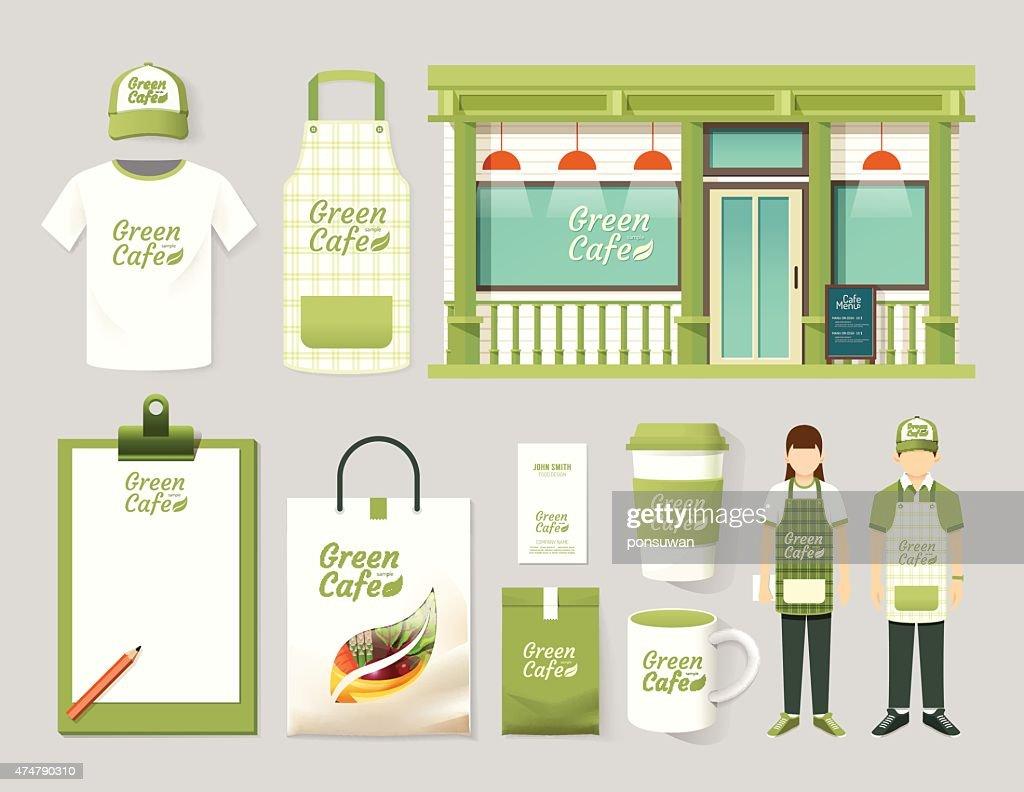 Vector restaurant cafe set shop front design, mock up template.