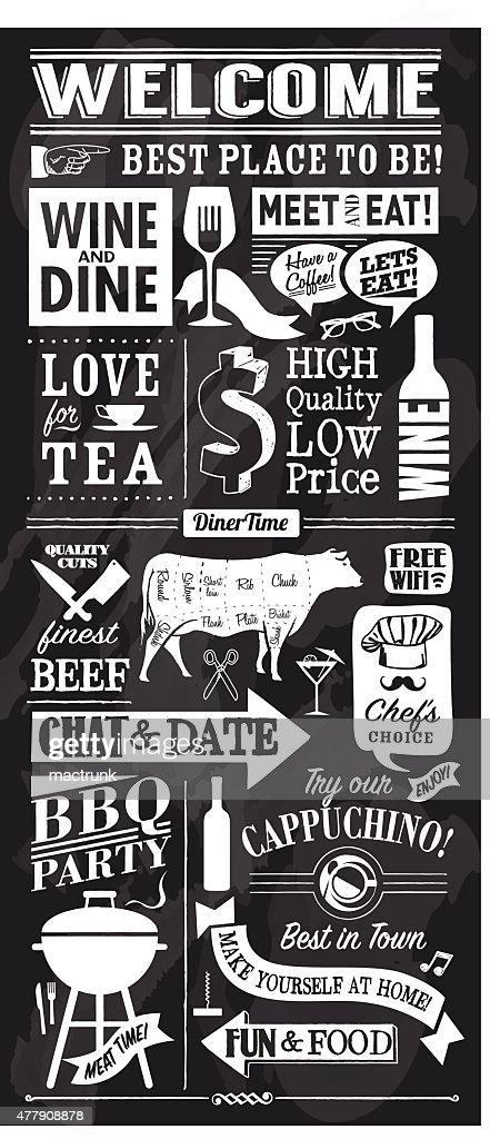 vector restaurant or bar chalkboard design