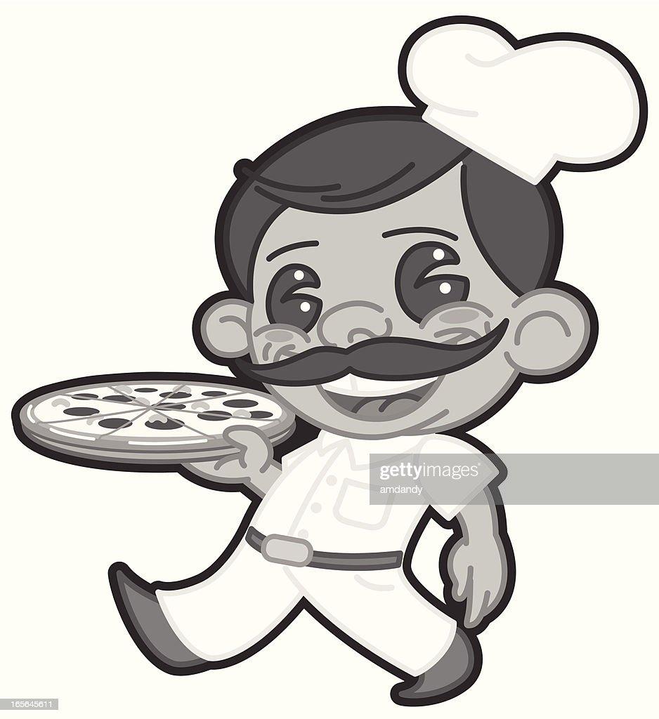 vector reto style pizza guy