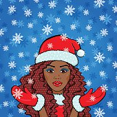 Vector retro afro woman in Snow Maiden red costume
