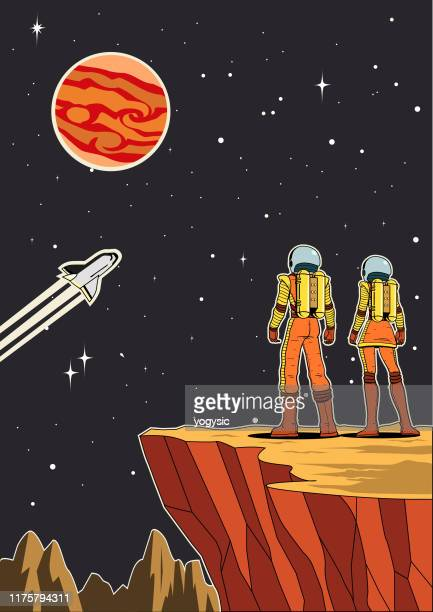 illustrazioni stock, clip art, cartoni animati e icone di tendenza di vector retro astronaut couple from rear view on planet with outer space background illustration - copy space