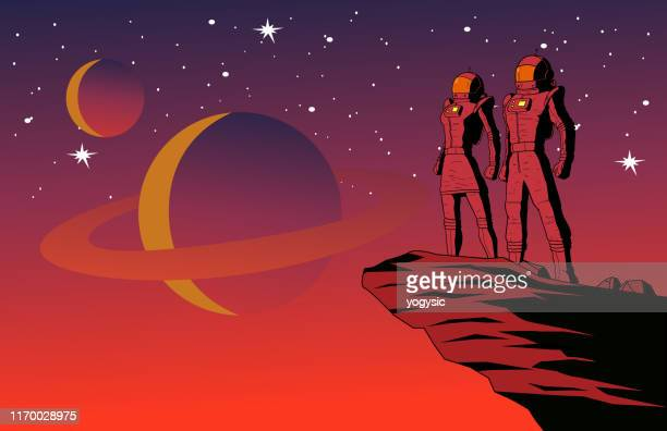 illustrazioni stock, clip art, cartoni animati e icone di tendenza di vector retro astronaut couple on a planet with outer space background illustration - copy space