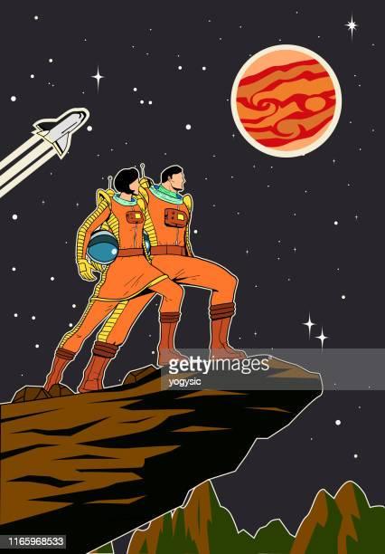 vektor retro astronaut paar poster illustration - archivmaterial stock-grafiken, -clipart, -cartoons und -symbole