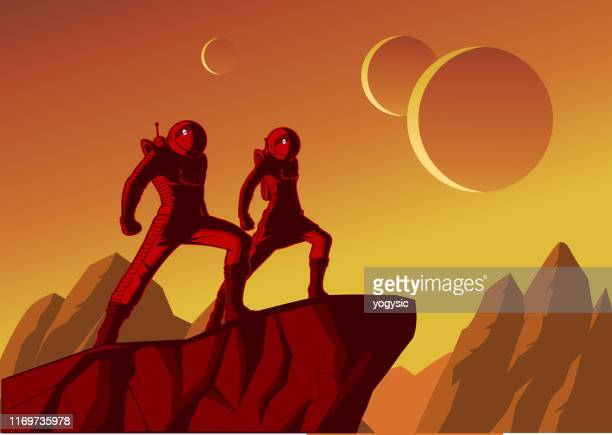 vector retro astronaut couple poster illustration - planet space stock illustrations