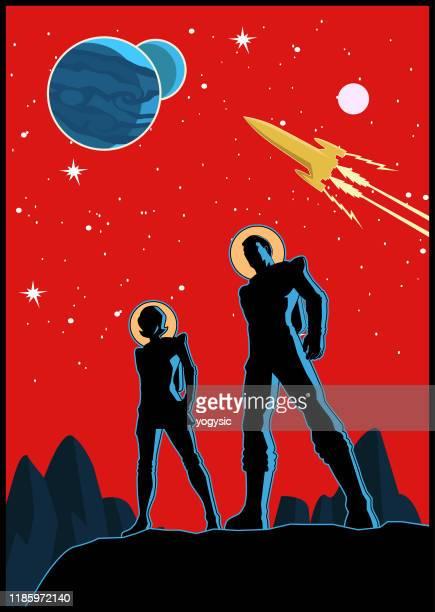 illustrations, cliparts, dessins animés et icônes de affiche de couples d'astronaute rétro de vecteur - seulement des adultes